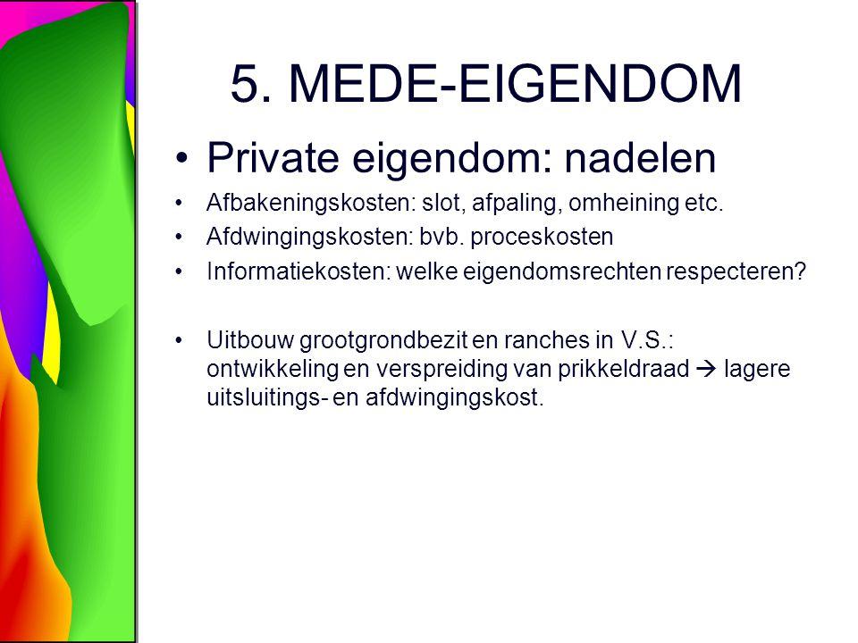 5.MEDE-EIGENDOM Private eigendom: nadelen Afbakeningskosten: slot, afpaling, omheining etc.