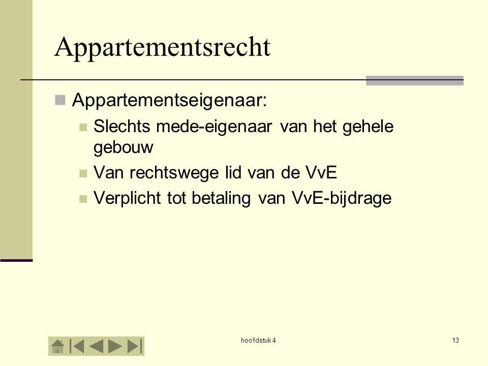 hoofdstuk 413 Appartementsrecht Appartementseigenaar: Slechts mede-eigenaar van het gehele gebouw Van rechtswege lid van de VvE Verplicht tot betaling van VvE-bijdrage