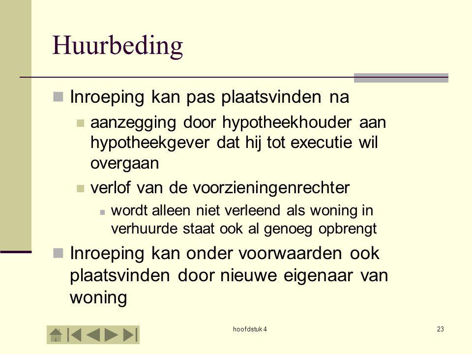 hoofdstuk 423 Huurbeding Inroeping kan pas plaatsvinden na aanzegging door hypotheekhouder aan hypotheekgever dat hij tot executie wil overgaan verlof