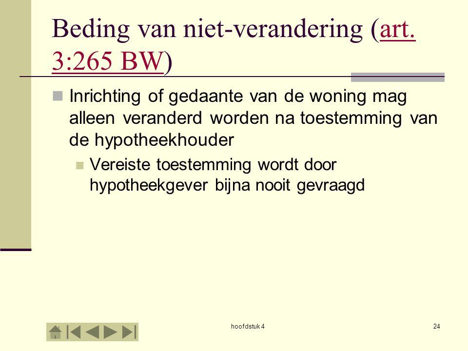 hoofdstuk 424 Beding van niet-verandering (art. 3:265 BW)art. 3:265 BW Inrichting of gedaante van de woning mag alleen veranderd worden na toestemming