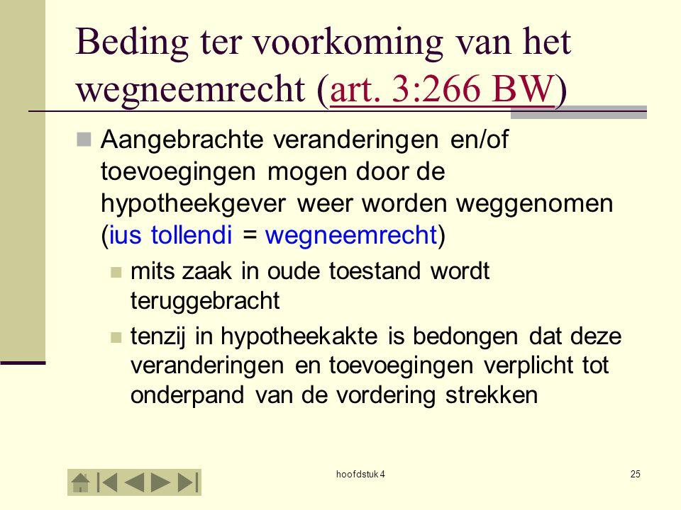 hoofdstuk 425 Beding ter voorkoming van het wegneemrecht (art. 3:266 BW)art. 3:266 BW Aangebrachte veranderingen en/of toevoegingen mogen door de hypo