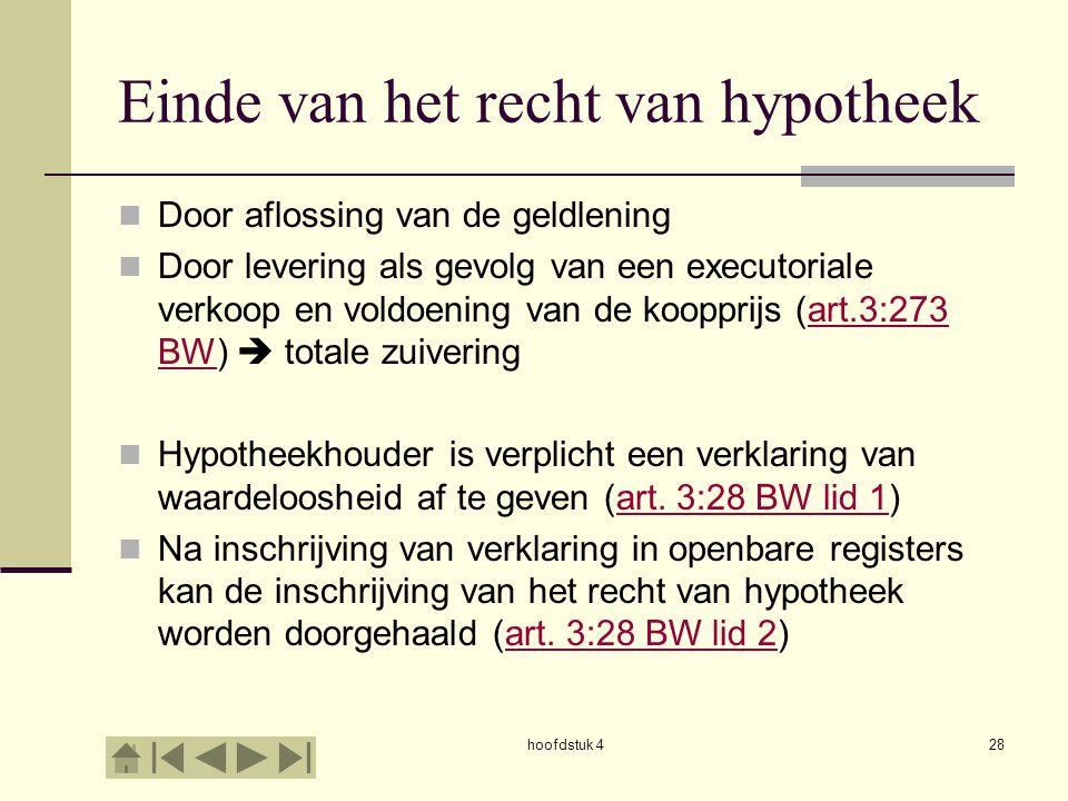 hoofdstuk 428 Einde van het recht van hypotheek Door aflossing van de geldlening Door levering als gevolg van een executoriale verkoop en voldoening v