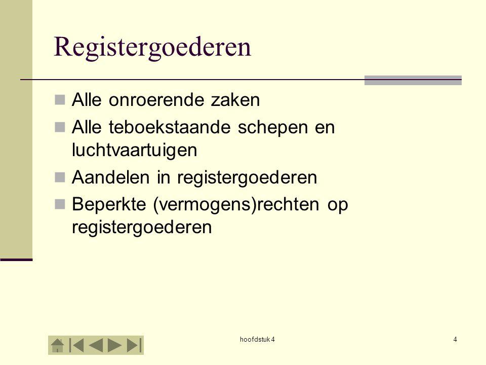 hoofdstuk 44 Registergoederen Alle onroerende zaken Alle teboekstaande schepen en luchtvaartuigen Aandelen in registergoederen Beperkte (vermogens)rechten op registergoederen