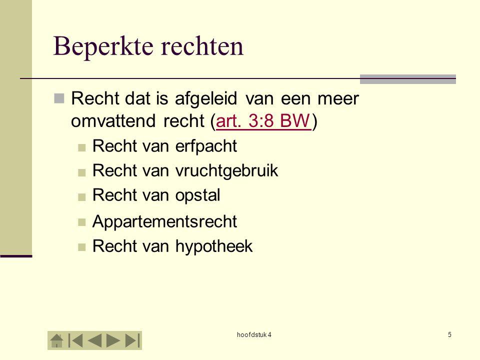 hoofdstuk 45 Beperkte rechten Recht dat is afgeleid van een meer omvattend recht (art. 3:8 BW)art. 3:8 BW Recht van erfpacht Recht van hypotheek Appar