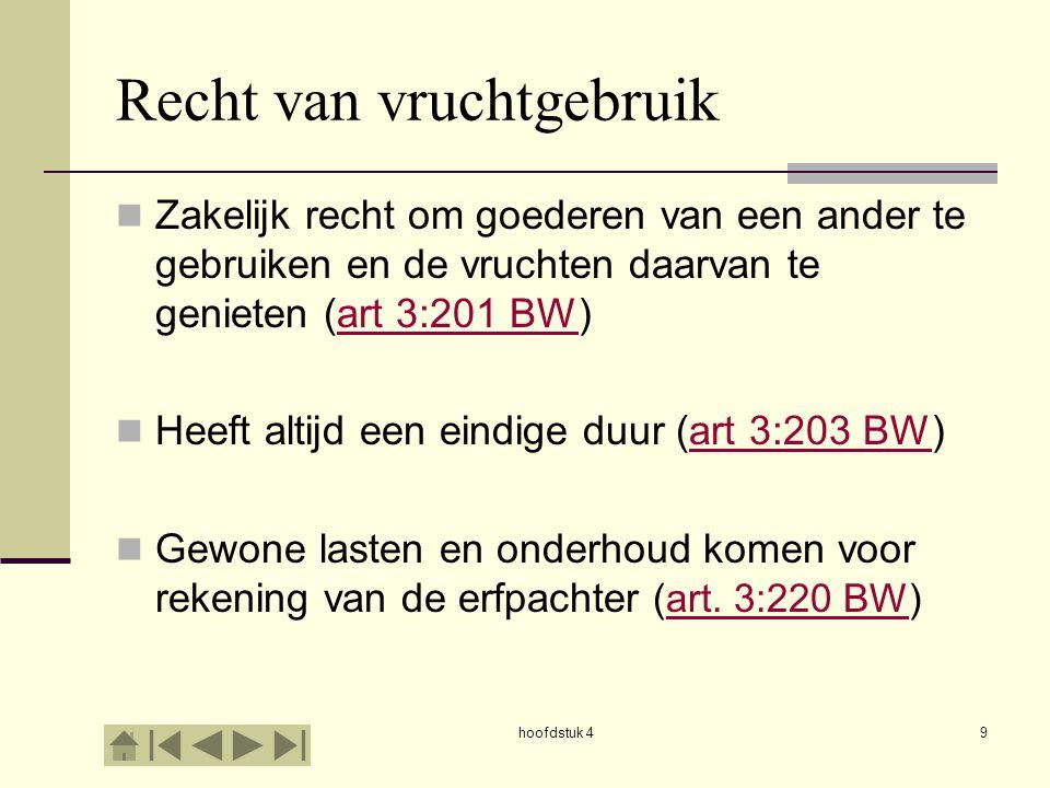 hoofdstuk 49 Recht van vruchtgebruik Zakelijk recht om goederen van een ander te gebruiken en de vruchten daarvan te genieten (art 3:201 BW)art 3:201