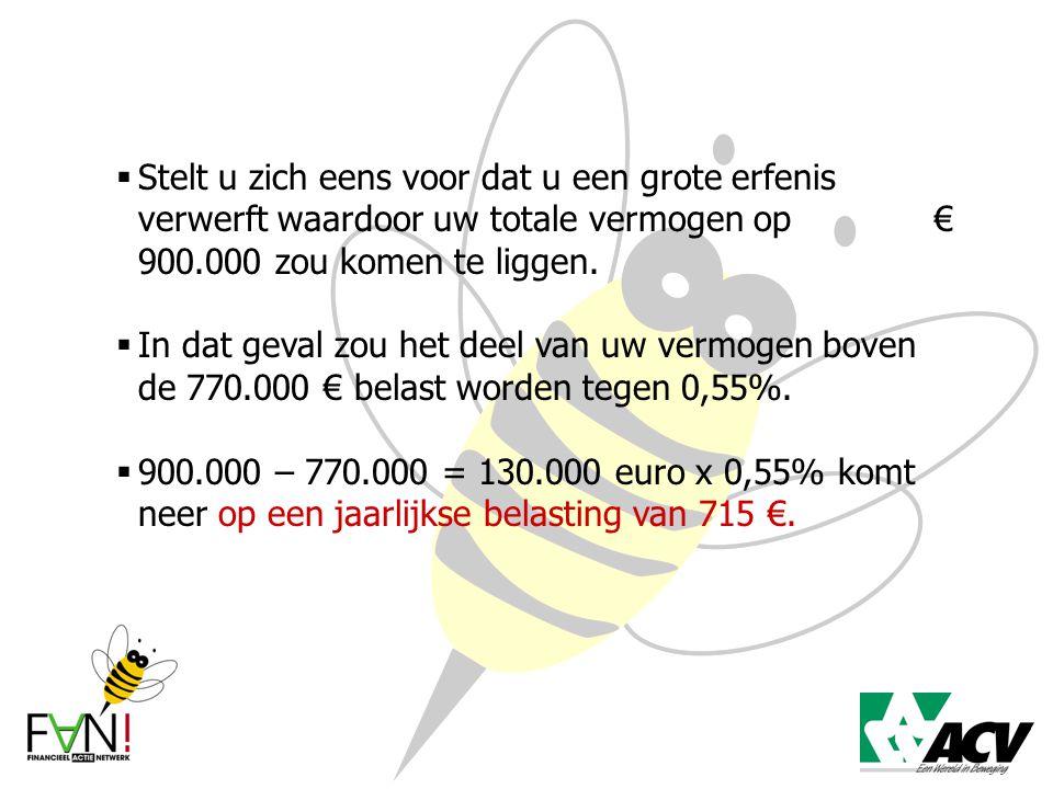  Stelt u zich eens voor dat u een grote erfenis verwerft waardoor uw totale vermogen op € 900.000 zou komen te liggen.  In dat geval zou het deel va