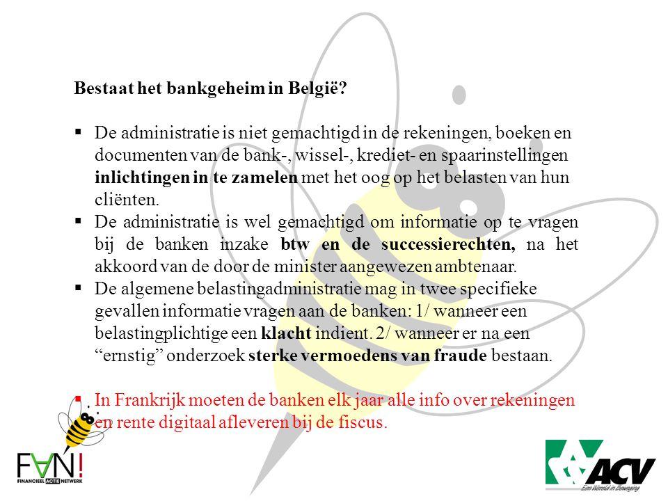 Bestaat het bankgeheim in België?  De administratie is niet gemachtigd in de rekeningen, boeken en documenten van de bank-, wissel-, krediet- en spaa