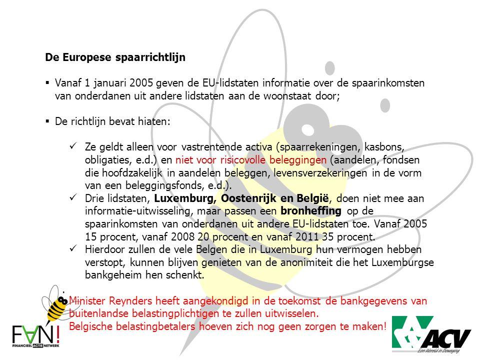 De Europese spaarrichtlijn  Vanaf 1 januari 2005 geven de EU-lidstaten informatie over de spaarinkomsten van onderdanen uit andere lidstaten aan de w