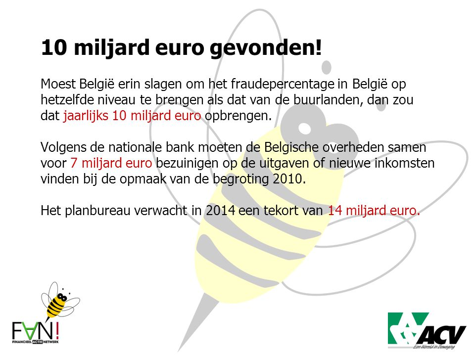10 miljard euro gevonden! Moest België erin slagen om het fraudepercentage in België op hetzelfde niveau te brengen als dat van de buurlanden, dan zou