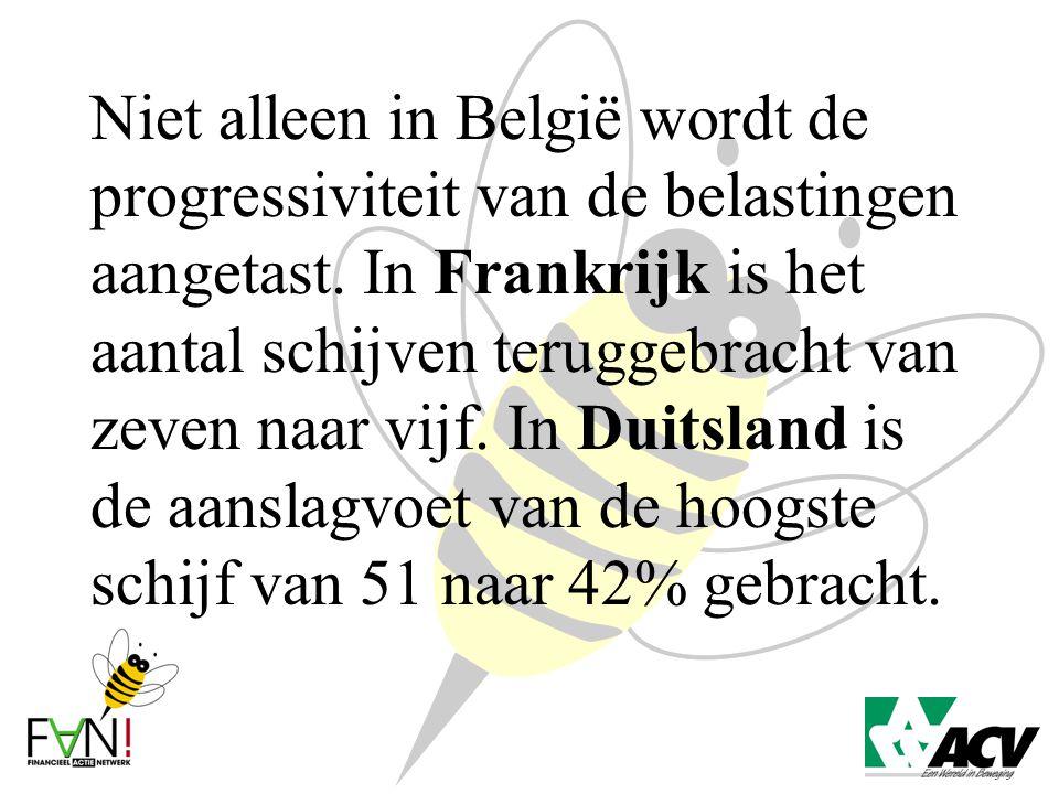 Niet alleen in België wordt de progressiviteit van de belastingen aangetast. In Frankrijk is het aantal schijven teruggebracht van zeven naar vijf. In