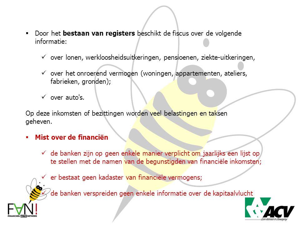  Door het bestaan van registers beschikt de fiscus over de volgende informatie: over lonen, werkloosheidsuitkeringen, pensioenen, ziekte-uitkeringen,