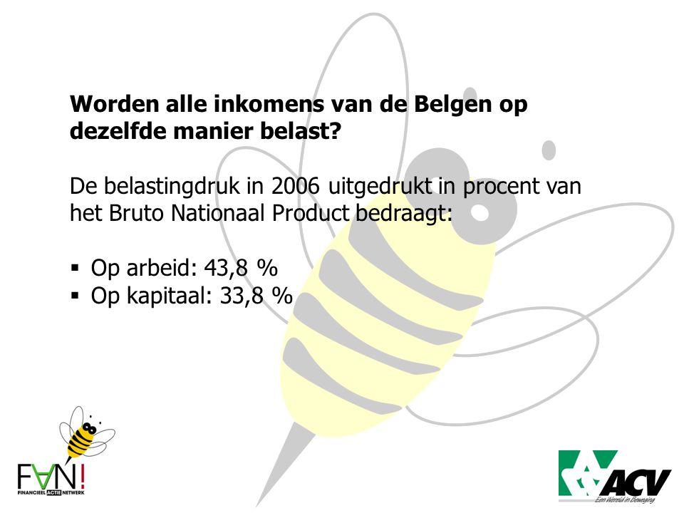 Worden alle inkomens van de Belgen op dezelfde manier belast? De belastingdruk in 2006 uitgedrukt in procent van het Bruto Nationaal Product bedraagt: