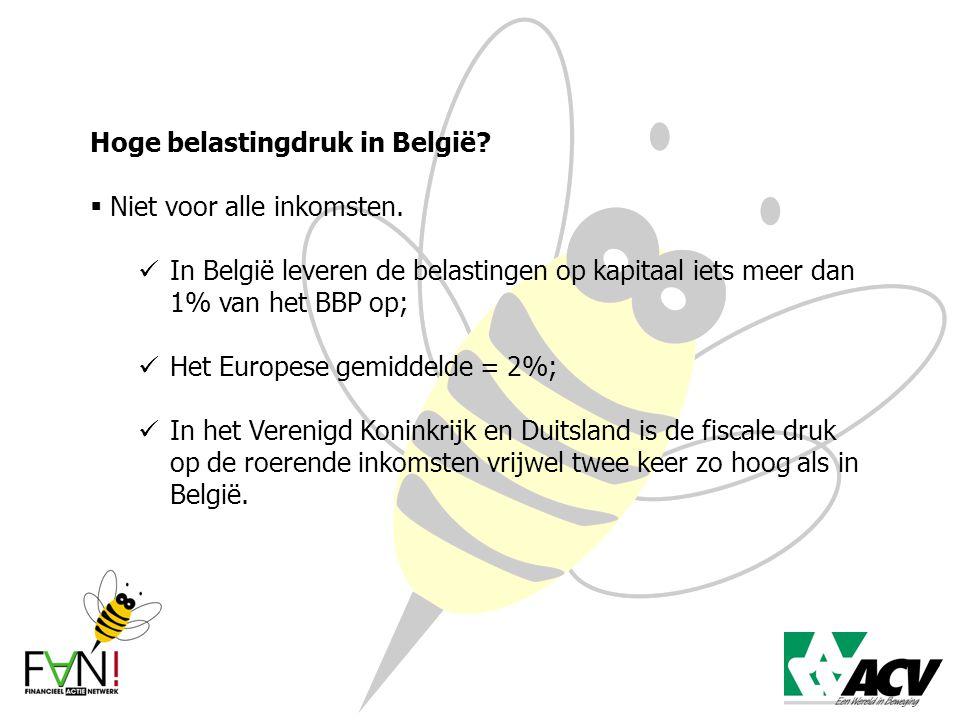 Hoge belastingdruk in België?  Niet voor alle inkomsten. In België leveren de belastingen op kapitaal iets meer dan 1% van het BBP op; Het Europese g