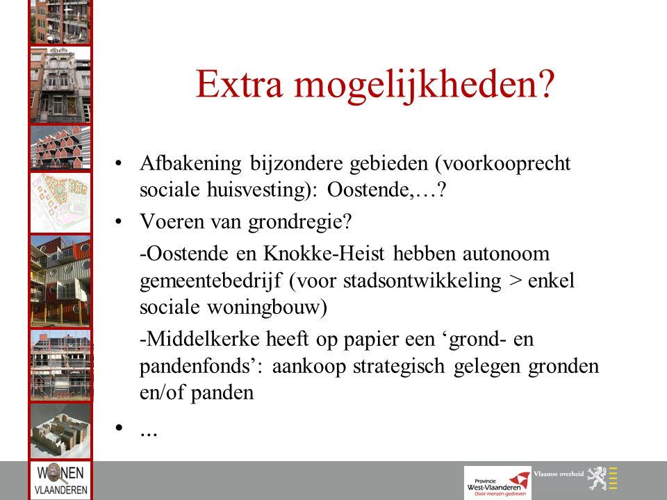 Extra mogelijkheden? Afbakening bijzondere gebieden (voorkooprecht sociale huisvesting): Oostende,…? Voeren van grondregie? -Oostende en Knokke-Heist