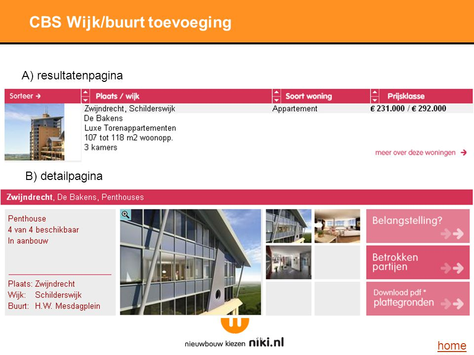 Stichting LNP CBS Wijk/buurt toevoeging A) resultatenpagina B) detailpagina home