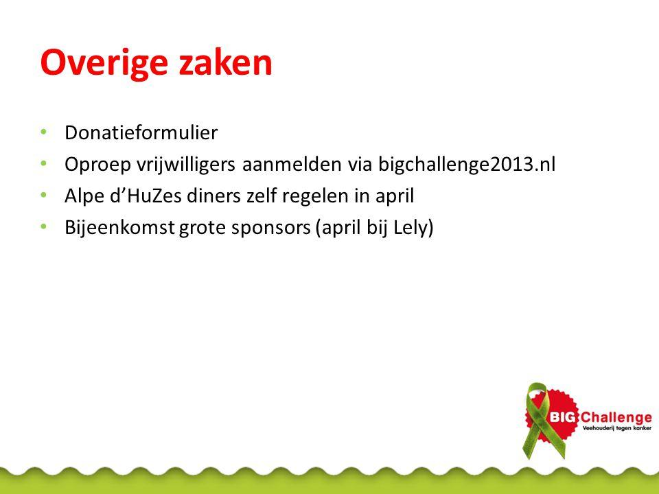 Overige zaken Donatieformulier Oproep vrijwilligers aanmelden via bigchallenge2013.nl Alpe d'HuZes diners zelf regelen in april Bijeenkomst grote spon