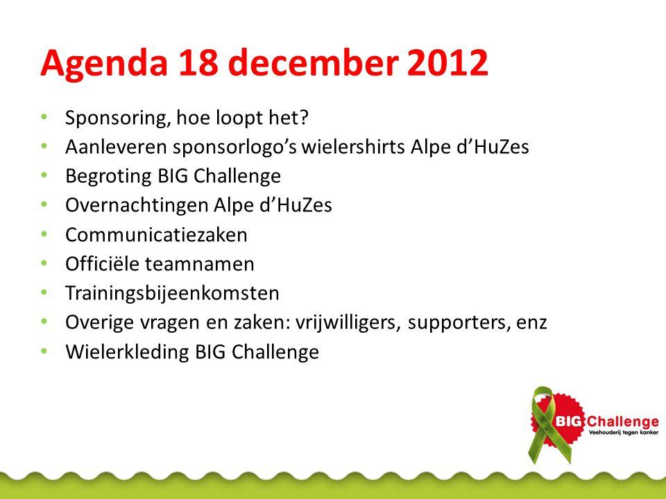 Agenda 18 december 2012 Sponsoring, hoe loopt het? Aanleveren sponsorlogo's wielershirts Alpe d'HuZes Begroting BIG Challenge Overnachtingen Alpe d'Hu
