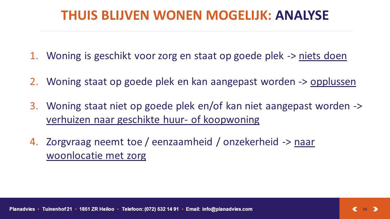 16 THUIS BLIJVEN WONEN MOGELIJK: ANALYSE Planadvies Tuinenhof 21 1851 ZR Heiloo Telefoon: (072) 532 14 91 Email: info@planadvies.com 1.Woning is geschikt voor zorg en staat op goede plek -> niets doen 2.Woning staat op goede plek en kan aangepast worden -> opplussen 3.Woning staat niet op goede plek en/of kan niet aangepast worden -> verhuizen naar geschikte huur- of koopwoning 4.Zorgvraag neemt toe / eenzaamheid / onzekerheid -> naar woonlocatie met zorg