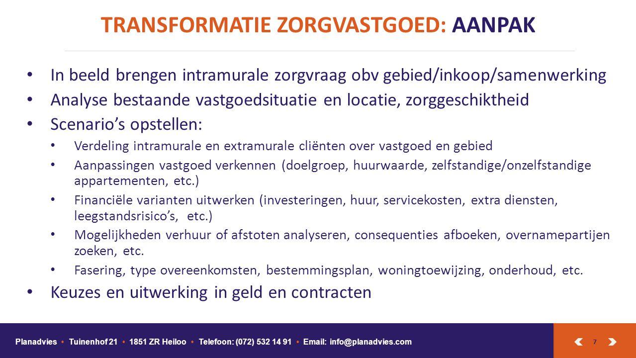 7 TRANSFORMATIE ZORGVASTGOED: AANPAK Planadvies Tuinenhof 21 1851 ZR Heiloo Telefoon: (072) 532 14 91 Email: info@planadvies.com In beeld brengen intr