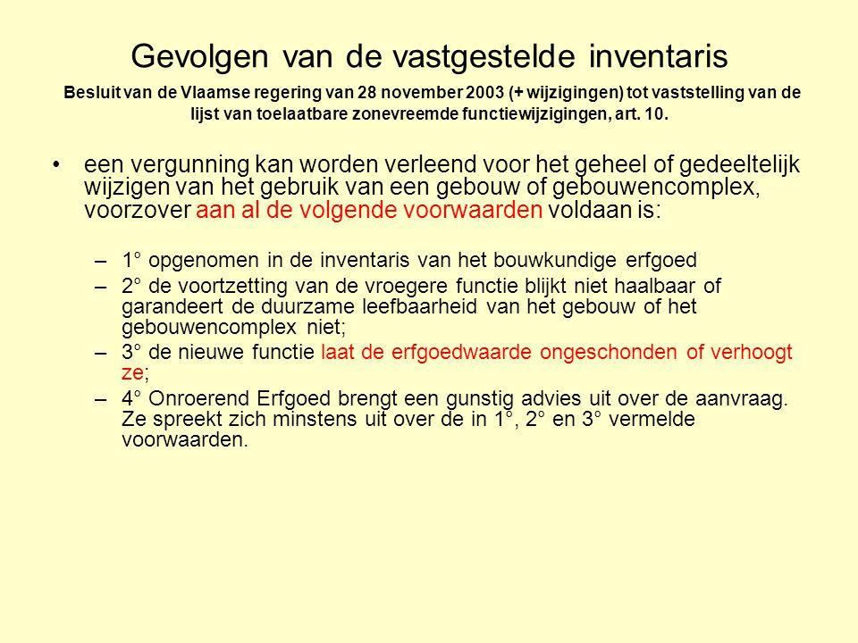 Gevolgen van de vastgestelde inventaris Besluit van de Vlaamse regering van 28 november 2003 (+ wijzigingen) tot vaststelling van de lijst van toelaatbare zonevreemde functiewijzigingen, art.