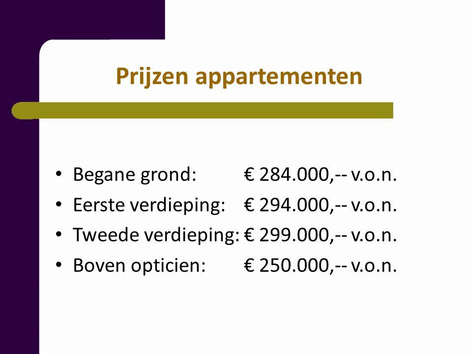 Prijzen appartementen Begane grond: € 284.000,-- v.o.n.