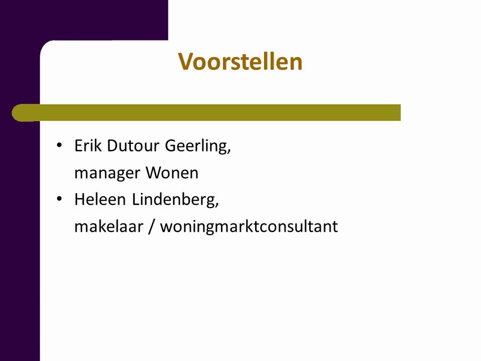 Voorstellen Erik Dutour Geerling, manager Wonen Heleen Lindenberg, makelaar / woningmarktconsultant