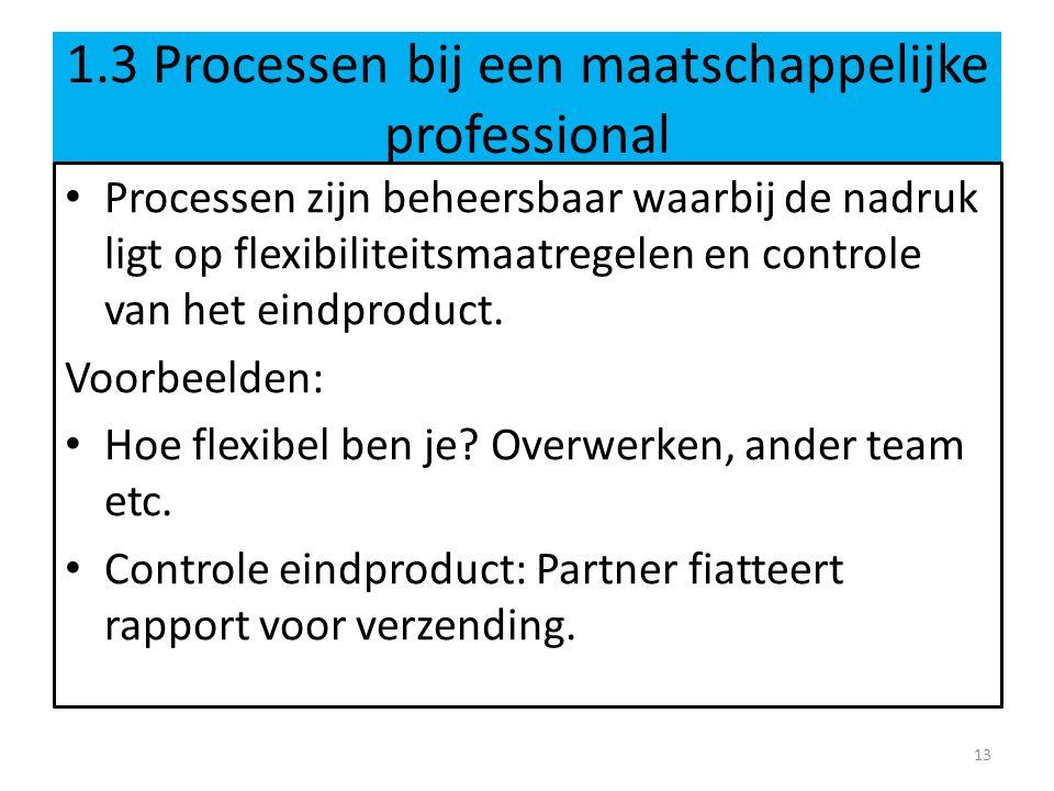 1.3 Processen bij een maatschappelijke professional Processen zijn beheersbaar waarbij de nadruk ligt op flexibiliteitsmaatregelen en controle van het