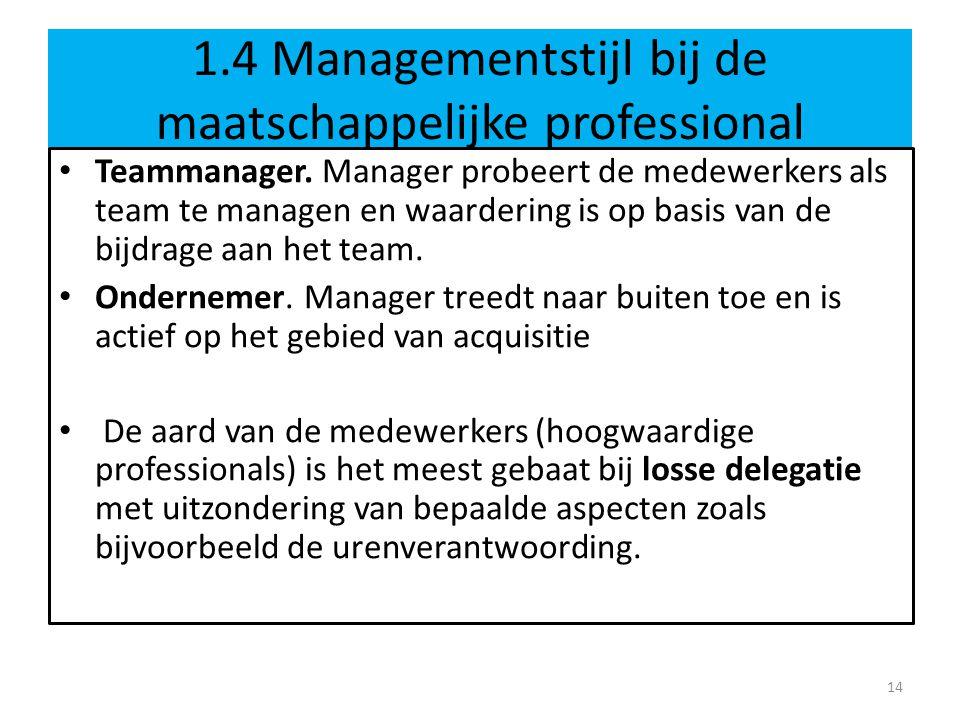 1.4 Managementstijl bij de maatschappelijke professional Teammanager. Manager probeert de medewerkers als team te managen en waardering is op basis va
