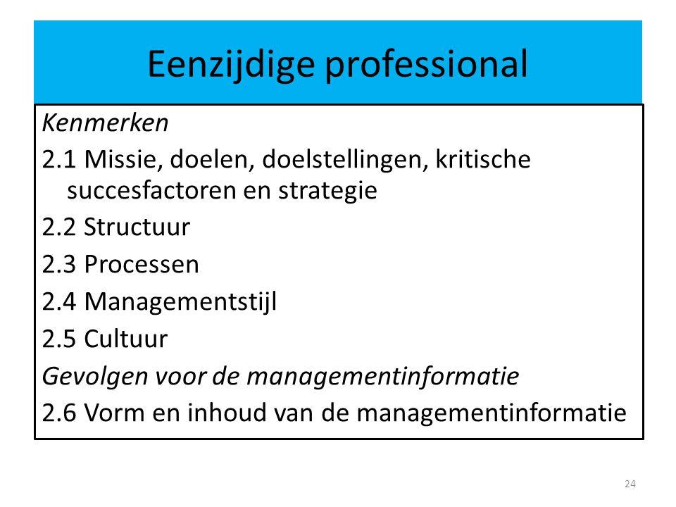 Eenzijdige professional 24 Kenmerken 2.1 Missie, doelen, doelstellingen, kritische succesfactoren en strategie 2.2 Structuur 2.3 Processen 2.4 Managem