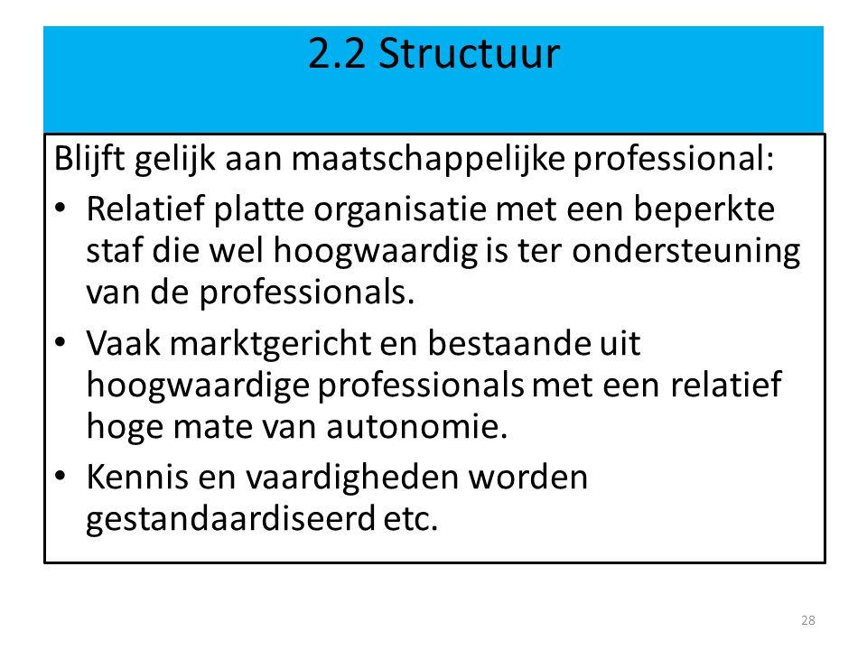 2.2 Structuur Blijft gelijk aan maatschappelijke professional: Relatief platte organisatie met een beperkte staf die wel hoogwaardig is ter ondersteun