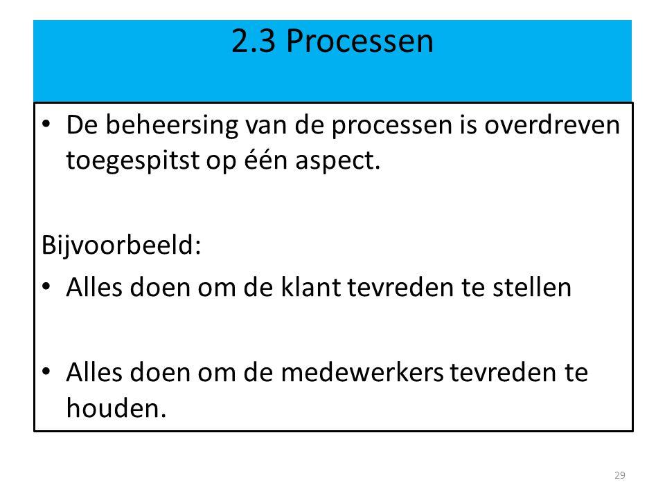 2.3 Processen De beheersing van de processen is overdreven toegespitst op één aspect. Bijvoorbeeld: Alles doen om de klant tevreden te stellen Alles d