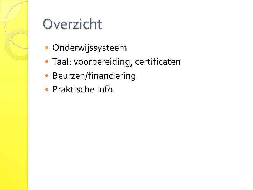 Overzicht Onderwijssysteem Taal: voorbereiding, certificaten Beurzen/financiering Praktische info