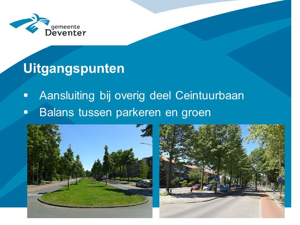Uitgangspunten  Aansluiting bij overig deel Ceintuurbaan  Balans tussen parkeren en groen