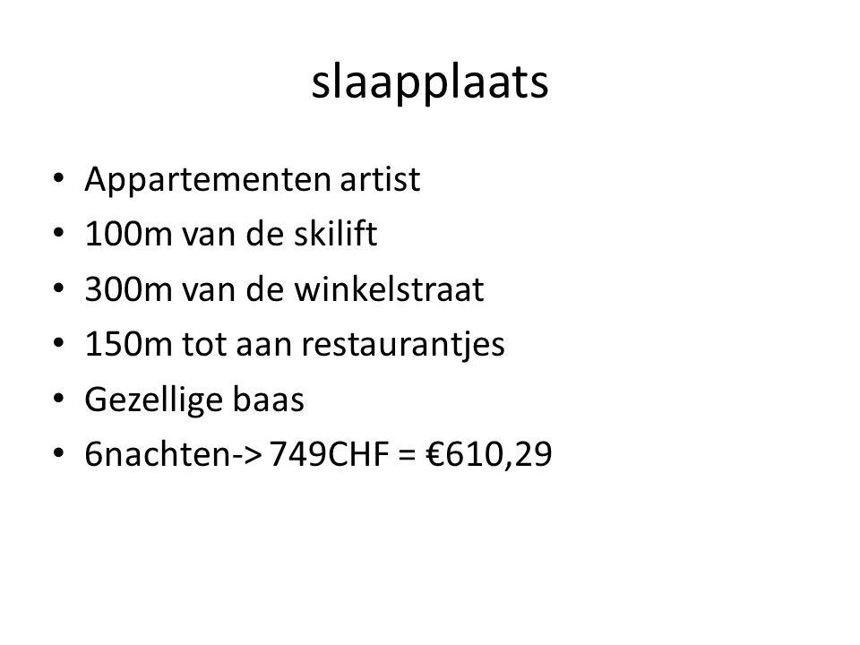 slaapplaats Appartementen artist 100m van de skilift 300m van de winkelstraat 150m tot aan restaurantjes Gezellige baas 6nachten-> 749CHF = €610,29