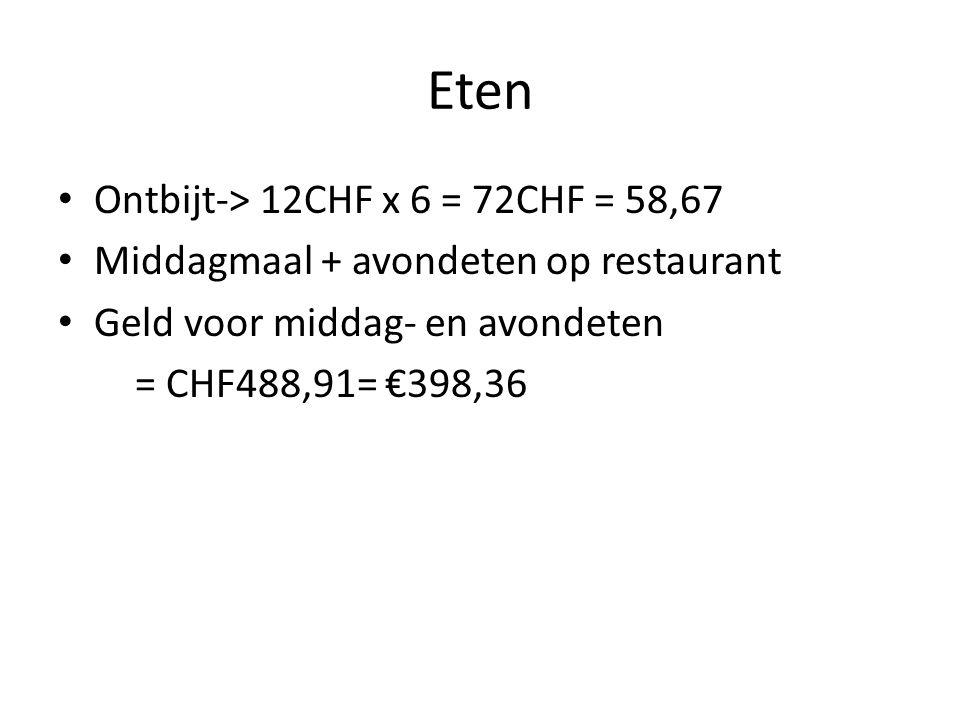 Eten Ontbijt-> 12CHF x 6 = 72CHF = 58,67 Middagmaal + avondeten op restaurant Geld voor middag- en avondeten = CHF488,91= €398,36