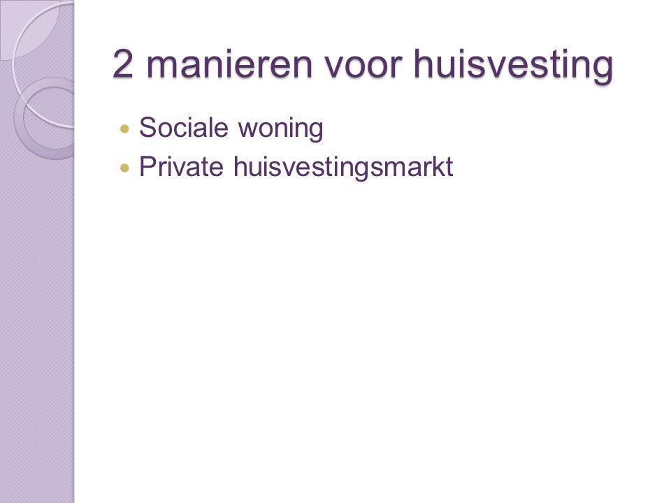 2 manieren voor huisvesting Sociale woning Private huisvestingsmarkt