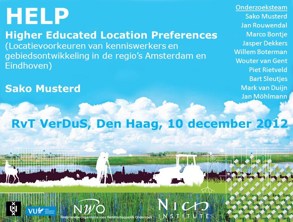HELP Higher Educated Location Preferences (Locatievoorkeuren van kenniswerkers en gebiedsontwikkeling in de regio's Amsterdam en Eindhoven) Sako Muste