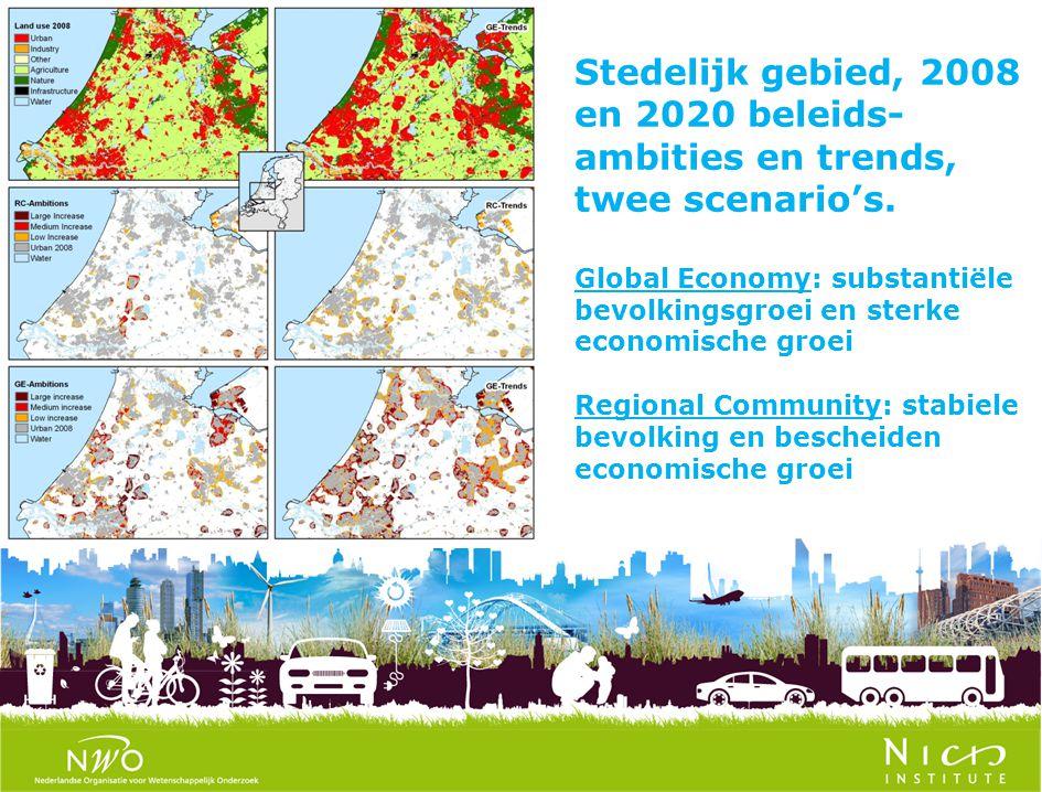 Stedelijk gebied, 2008 en 2020 beleids- ambities en trends, twee scenario's. Global Economy: substantiële bevolkingsgroei en sterke economische groei