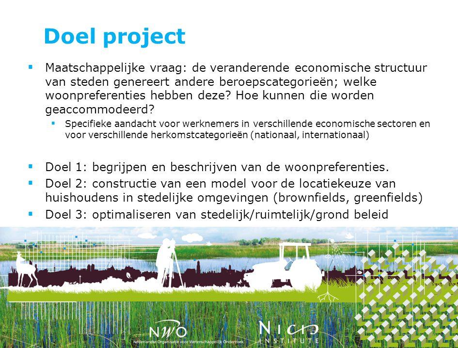 Doel project  Maatschappelijke vraag: de veranderende economische structuur van steden genereert andere beroepscategorieën; welke woonpreferenties he
