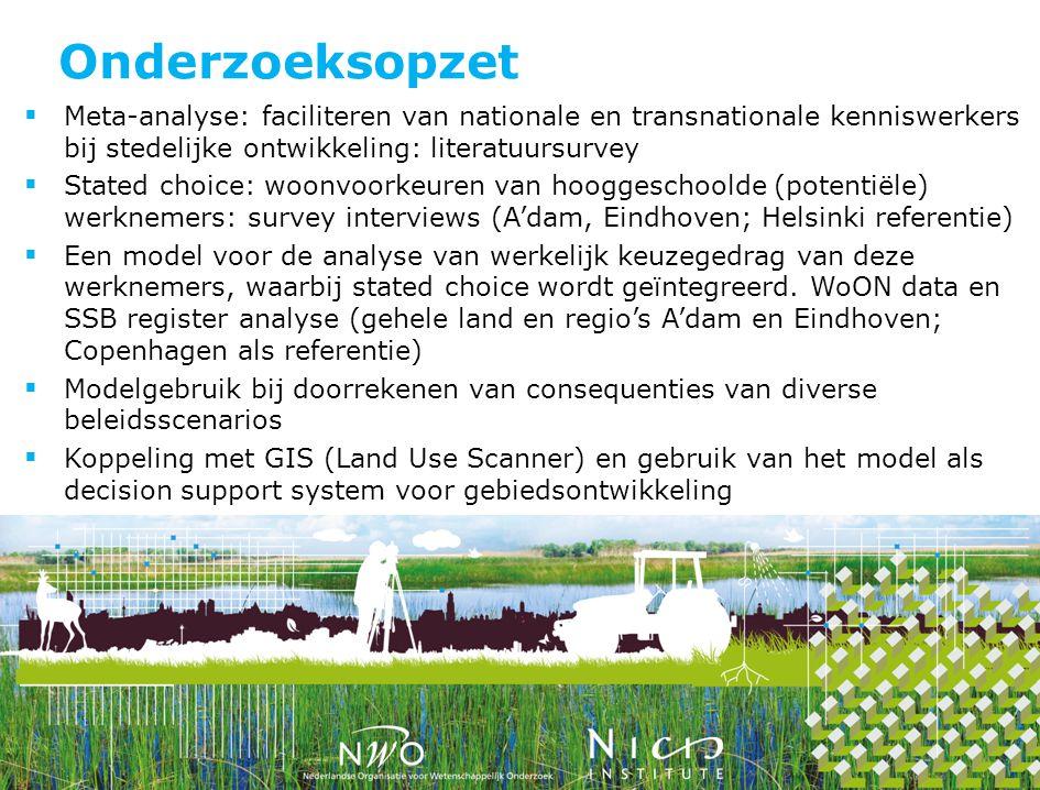 Onderzoeksopzet  Meta-analyse: faciliteren van nationale en transnationale kenniswerkers bij stedelijke ontwikkeling: literatuursurvey  Stated choic