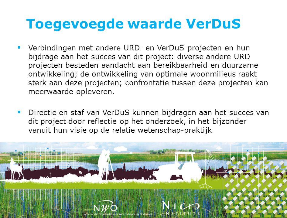 Toegevoegde waarde VerDuS  Verbindingen met andere URD- en VerDuS-projecten en hun bijdrage aan het succes van dit project: diverse andere URD projec