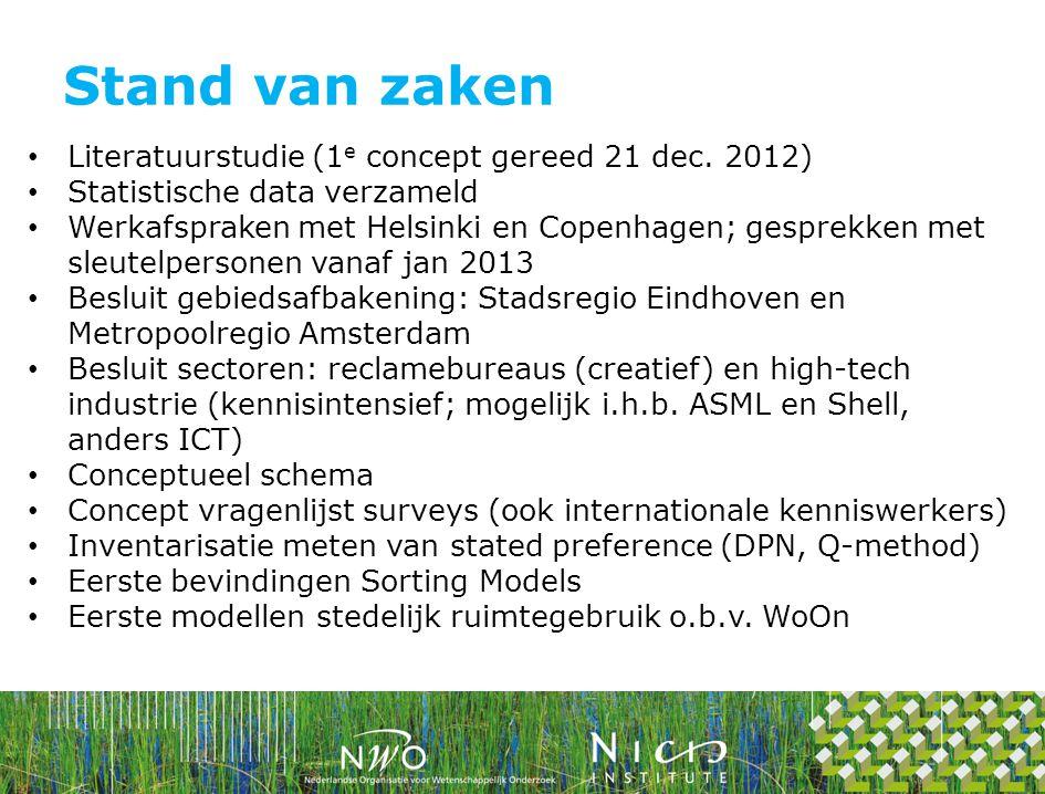 Literatuurstudie (1 e concept gereed 21 dec. 2012) Statistische data verzameld Werkafspraken met Helsinki en Copenhagen; gesprekken met sleutelpersone