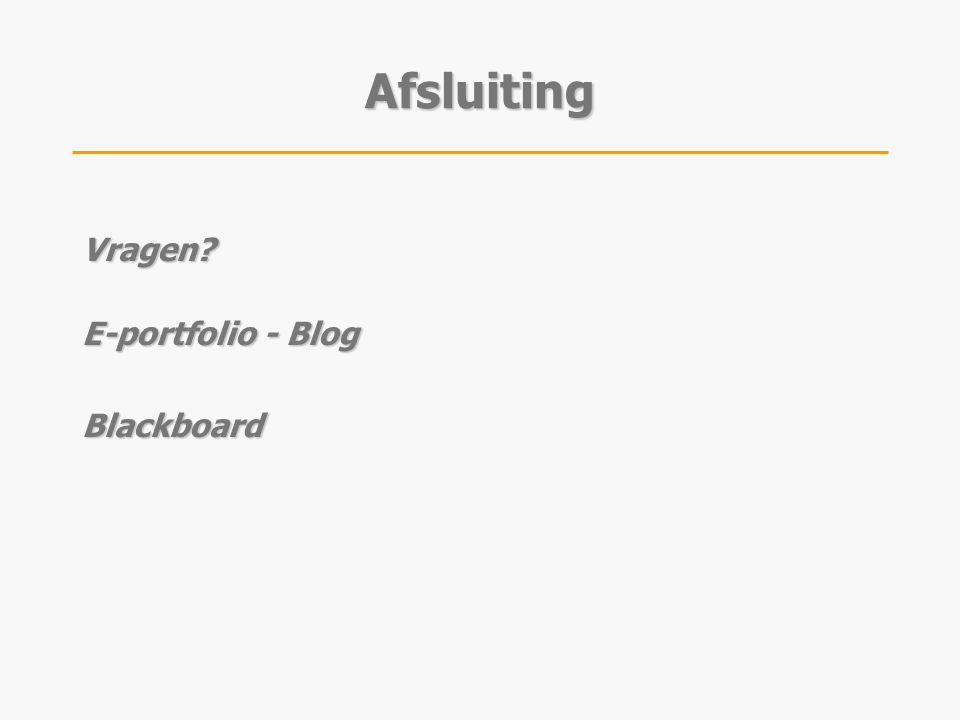 Afsluiting Vragen E-portfolio - Blog Blackboard