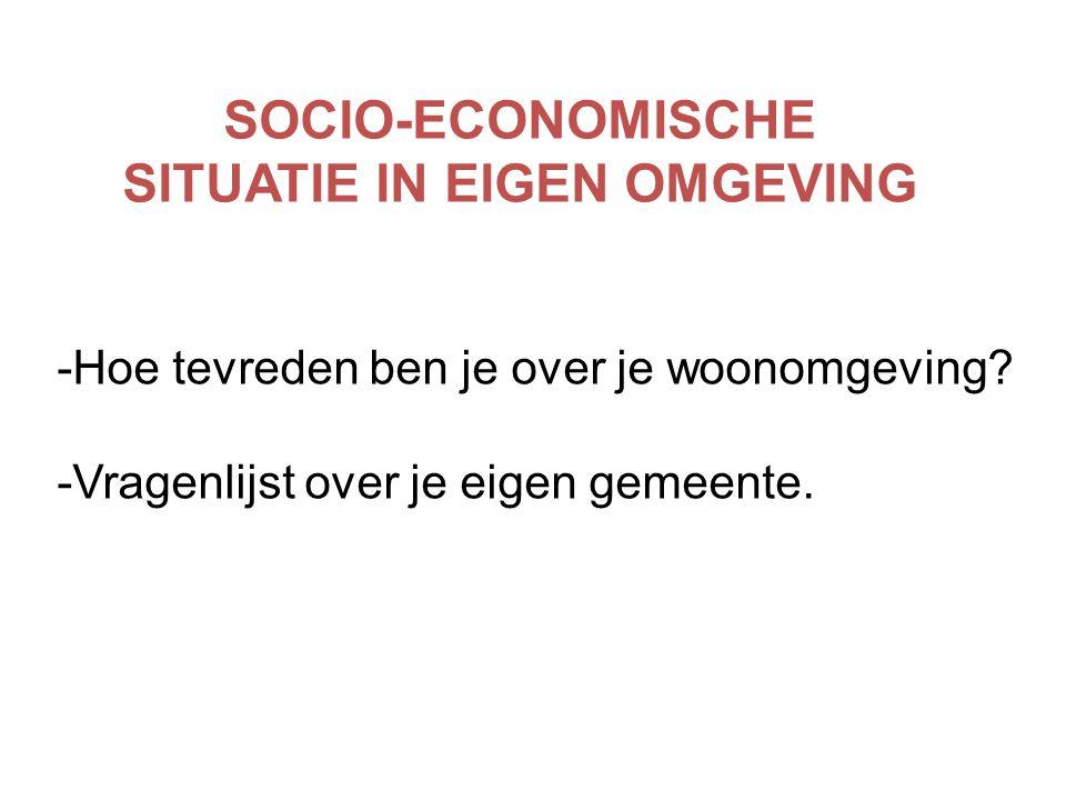SOCIO-ECONOMISCHE SITUATIE IN EIGEN OMGEVING -Hoe tevreden ben je over je woonomgeving? -Vragenlijst over je eigen gemeente.
