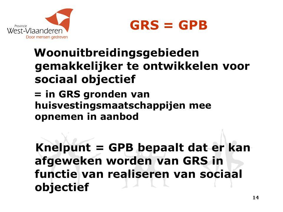 GRS = GPB Woonuitbreidingsgebieden gemakkelijker te ontwikkelen voor sociaal objectief = in GRS gronden van huisvestingsmaatschappijen mee opnemen in aanbod Knelpunt = GPB bepaalt dat er kan afgeweken worden van GRS in functie van realiseren van sociaal objectief 14