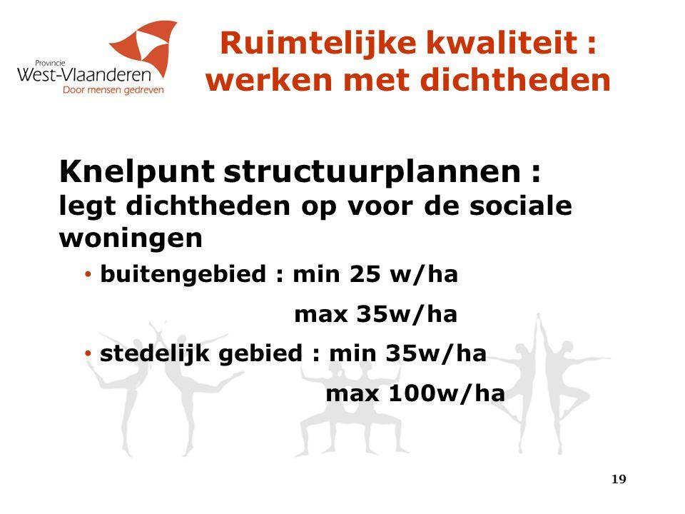 Ruimtelijke kwaliteit : werken met dichtheden Knelpunt structuurplannen : legt dichtheden op voor de sociale woningen buitengebied : min 25 w/ha max 35w/ha stedelijk gebied : min 35w/ha max 100w/ha 19