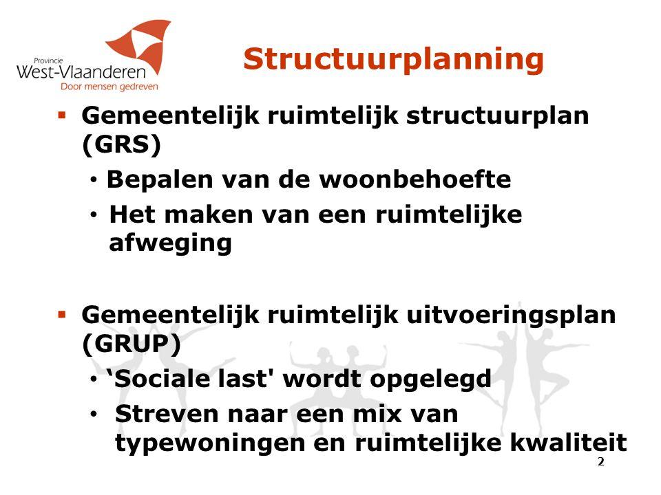Structuurplanning  Gemeentelijk ruimtelijk structuurplan (GRS) Bepalen van de woonbehoefte Het maken van een ruimtelijke afweging  Gemeentelijk ruimtelijk uitvoeringsplan (GRUP) 'Sociale last wordt opgelegd Streven naar een mix van typewoningen en ruimtelijke kwaliteit 2