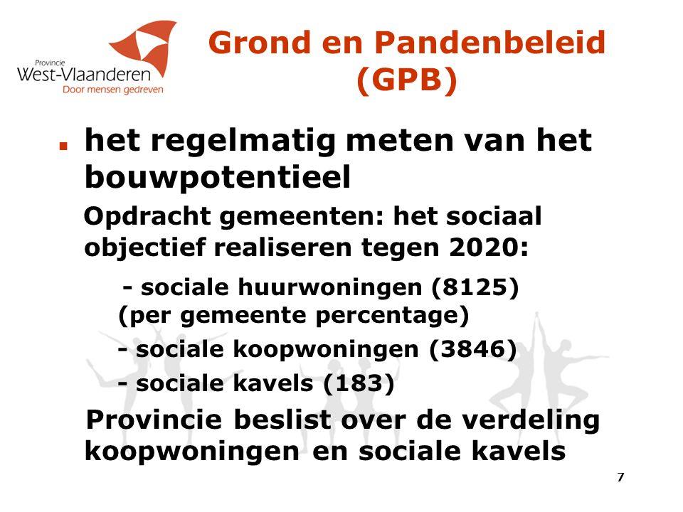 het regelmatig meten van het bouwpotentieel Opdracht gemeenten: het sociaal objectief realiseren tegen 2020 : - sociale huurwoningen (8125) (per gemeente percentage) - sociale koopwoningen (3846) - sociale kavels (183) Provincie beslist over de verdeling koopwoningen en sociale kavels Grond en Pandenbeleid (GPB) 7