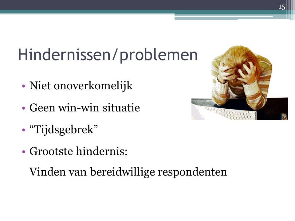 """Hindernissen/problemen Niet onoverkomelijk Geen win-win situatie """"Tijdsgebrek"""" Grootste hindernis: Vinden van bereidwillige respondenten 15"""