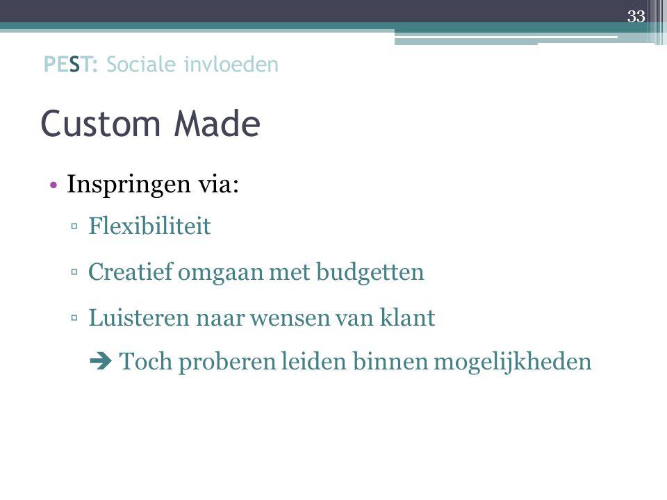 Custom Made Inspringen via: ▫Flexibiliteit ▫Creatief omgaan met budgetten ▫Luisteren naar wensen van klant  Toch proberen leiden binnen mogelijkheden